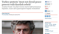 Jonathan Powell on Turkey protests and the Kurdish peace process in an interview with the Guardian and Hürriyet Newspapers.
